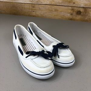 Sperry White and Blue Slip on Loafers Sz 6.5